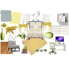 Yellow & grey bedroom