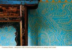 Artist Kaveri Singh. Turquoise Venetian Plaster with mango and cream mehandi pattern.