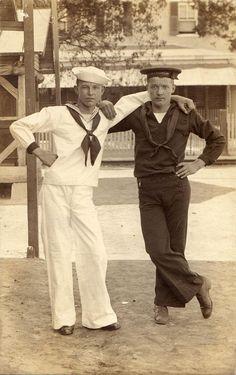"""""""Two Sailor Buddies"""" Photograph [Circa Vintage Pictures, Vintage Images, Vintage Men, Retro Men, Vintage Sailor, Vintage Nautical, Nautical Theme, Navy Chief, Sailor Pants"""