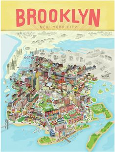 The defining image of Brooklyn is here. Brooklyn Poster by BlankSlate in DUMBO Brooklyn New York, New York City, Brooklyn Map, Brooklyn Brownstone, Carroll Gardens, Orange Beach Alabama, I Love Ny, Map Design, Travel Design