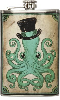 """OCTOPUS FLASK    Pull up a chair and have a drink this eight legged, distinguished gentleman. This stainless steel flask features a top hat wearin' octopus. Pour 8 oz of your favorite beverage into this handy travelin' flask.  6"""" by 4"""" by 1""""    $26.00"""