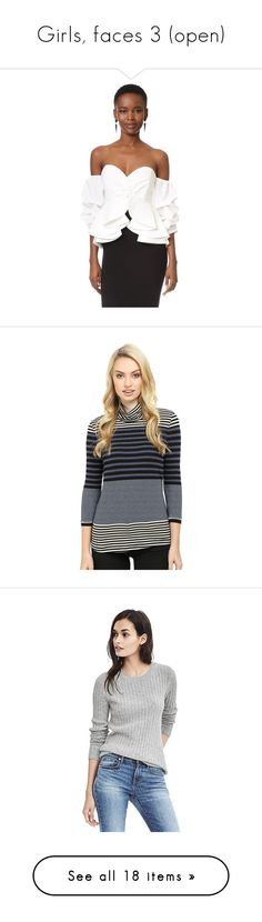 """Girls, faces 3 (open)"" by irnarenko ❤ liked on Polyvore featuring tops, ivory, stylekeepers, multi, stripe top, mock turtle neck tops, 3/4 length sleeve tops, striped turtleneck top, 3/4 sleeve tops and sweaters"