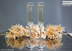 Personalized Vera Wang With Love Gold Champagne Glasses (Set of TWO) Pair Custom Engraved Wedding Toasting Flutes Wedding Gift, Couples Gift Champagne Glasses, Gold Champagne, Homemade Wedding Gifts, Toasting Flutes, Personalized Wedding Gifts, Gold Wedding, Wedding Bells, Engagement Gifts, Custom Engraving