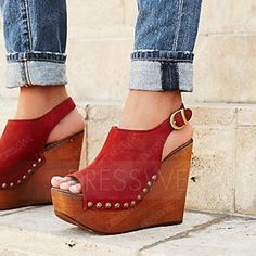 Buy Brown Sandals Faux Suede Peep Toe Rivet Wedges Online, Dresswe.Com offer high quality fashion,Price: USD$78.20