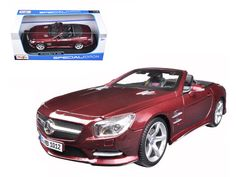 2012 Mercedes SL 500 Convertible Burgundy 1/18 Diecast Model Car by Maisto - Brand new 1:18 scale diecast car model of 2012 Mercedes SL 500 Convertible Burgundy die cast car model by Maisto. Brand new box. Rubber tires. Has steerable wheels. Made of diecast metal. Detailed interior, exterior. Has opening hood, doors and trunk. Dimensions approximately L-10.5, W-4.5, H-3.5 inches. Please note that manufacturer may change packing box at anytime. Product will stay exactly the same.-Weight: 4…
