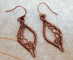 Copper Wire Wrapped Drop Earrings by WynterCreations on Etsy, $35.00