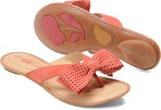 Petite Bow Sandals in Peach