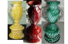 Rückl Včelnička - Ruckl Bohemian Spatter Glass Trophy Vases