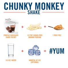 Turn a Profile chocolate shake into Chunky Monkey goodness. Smoothie Recipes, Protein Shake Recipes, Low Carb Recipes, Smoothie Diet, Healthy Eating Recipes, Fruit Smoothies, Healthy Cooking, Healthy Smoothies, Diet Recipes