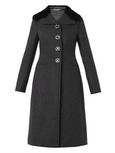 Mink-fur-collar wool-blend coat | Dolce & Gabbana | MATCHESFAS...