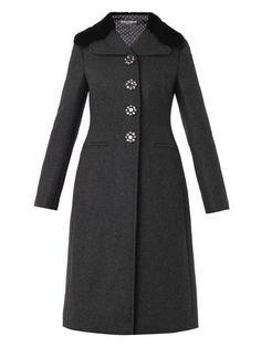 Mink-fur-collar wool-blend coat   Dolce & Gabbana   MATCHESFAS...