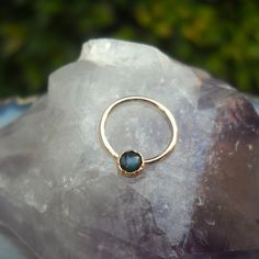 Paua Shell Nipple Ring Piercing / Septum Ring/Nose ring 14K Yellow Gold Filled Handcrafted