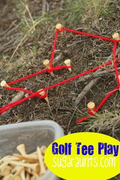 Bring Fine Motor play outdoors with golf tees.  We added a few extras to extend this activity out and bring the #outdoorplay to the indoors with a letter identification twist. By #TheSugarAunts