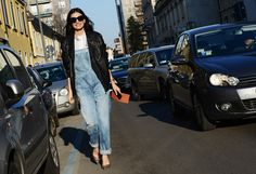 Tommy Ton Shoots Street Style at the Fall 2014 Fashion Shows // leather + overalls