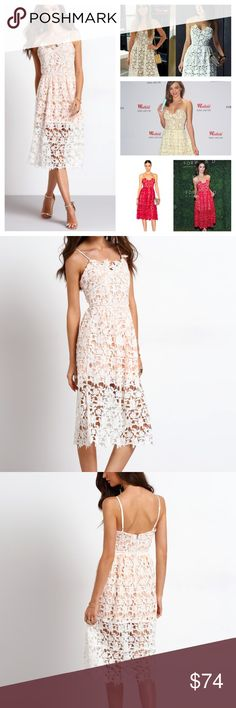 NWT White and Peach Eyelet Lace Midi Dress This dress is EXACTLY like the Self Portrait Azalea dress that retails for $480!!! Such a stunner, you will get noticed in this beautiful number.  Waist Size(cm) : S:66cm, L:74cm Bust(cm) : S:84cm, L:92cm Dresses Length : S:120cm, L:120cm Color : White/Peach underlay Sleeve Length : Sleeveless Dresses Length : Midi Type : Shift Neckline : Slip MMC Dresses Midi