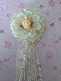 Shabby flower by juana. Use for wedding, crafting, home decor, brooch, gift wrapping