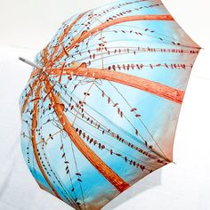 Photo Umbrella Blue Birds on Wires -Turquoise Brown Summer Wedding Gift op Etsy, 41,72 €
