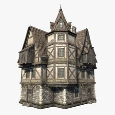 Low polygon game 3d-model of fantasy / medieval house. I used concept from Tabletop World. You can buy this model for your game project on Turbosquid.