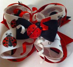 Lady Bug Handmade Boutique Stacked Hair Bow on Etsy, $6.00