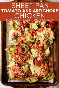 This Sheet Pan Tomato and Artichoke Chicken recipe is a simple one pan chicken dinner that you can make in 30 minutes. Use basic ingredients to make a healthy and delicious low carb meal. Roasted Artichoke, Artichoke Chicken, Easy Main Dish Recipes, Great Recipes, Dinner Recipes, Favorite Recipes, Canned Artichoke Recipes, Low Calorie Recipes, Healthy Recipes