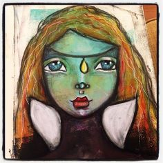 Watching Brave on TV (until the kids made us switch channel because it was too scary ) #brave #princess #mixedmedia #artjournaling #painting #irisimpressionsart