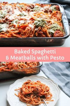 Baked Spaghetti And Meatballs, Easy Baked Spaghetti, Spaghetti Sauce, Group Boards, Food Blogs, Pesto, Macaroni And Cheese, Good Food, Meals