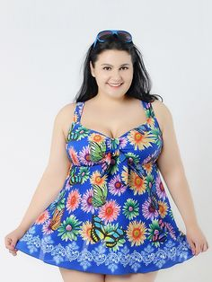 Sky Blue With Flower Conservative Colorful Printed High Elasticity Plus Size Swimsuit With Little Skirt Lidyy1605241071
