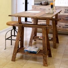 A Birdu0027s Leap: DIY Rustic Desk With Stained IKEA Legs   This Would Make An  Awesome Adjustable Cutting Table.