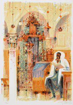 Ancient Synagogue in Saffed (Serigraph) by Shmuel Katz at Safrai Fine Art gallery - Jerusalem Arte Judaica, Enlarge Photos, Jewish Art, Fine Art Gallery, Jerusalem, Pop Up, Oil On Canvas, Folk Art, Museum