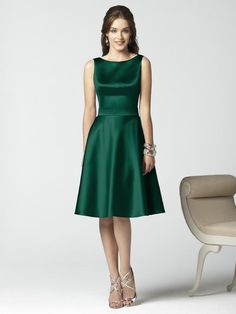 Sleeveless Cocktail Length Matte Satin Hunter Green Bridesmaid Dresses HDHB175