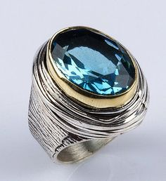 Sterling silver and bronze men ring,aquamarine stone.