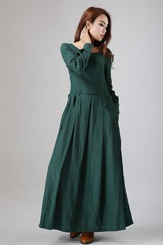 Hey, I found this really awesome Etsy listing at https://www.etsy.com/listing/33176029/green-dress-maxi-linen-dress-long-dress