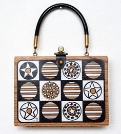 Vintage 60s Enid Collins of Texas Stars & Stripes Wood Box Bag Handbag Purse