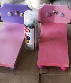 """Use similar idea to make 18"""" doll bed, only give it a foot board and nicer head board.  Use glossy paint. Flat paint looks too cheap."""