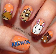 Polish Art Addiction: Arthur Nail Art  Hey Arthur Nails   Right in the childhood