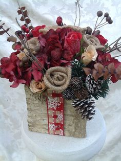 Christmas Silk Floral Arrangement in Birch Container by Hercio Dias Burlap Christmas, Etsy Christmas, Christmas Design, Christmas Wreaths, Christmas Crafts, Christmas Decorations, Paper Flower Arrangements, Christmas Floral Arrangements, Christmas Table Centerpieces