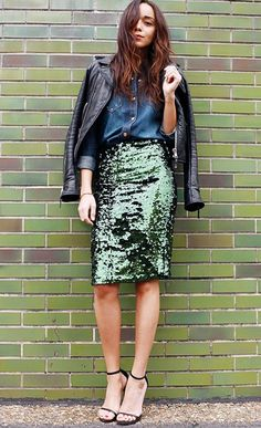 Think a sparkling skirt is only appropriate for New Year's Eve? Think again! // #Fashion #Style
