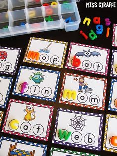 CVC words center that is my absolute favorite... check out this post for fun reading centers ideas for kindergarten or first grade!