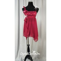 Encore Costume Couture |  Burgundy  Empire Waist Sheer Dress with Floral Accents - Swarovski Rhinestones - Size AS - Lyrical - Costumes