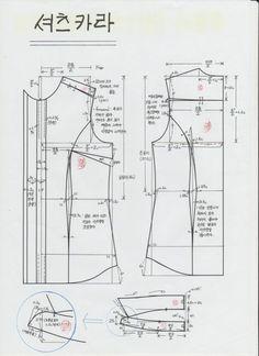 오늘은 셔츠카라 제도를 위해 올려 드려요 스탠드 부분과 카라 부분을 따로 분리해서 제도 하는 패턴입니다... T Shirt Sewing Pattern, Pattern Drafting, Sewing Patterns Free, Clothing Patterns, Bodice Pattern, Jacket Pattern, Tunic Dress Patterns, Sewing Collars, Retro Mode
