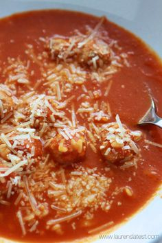 Tomato Basil Alphabet Soup with Mini Turkey Meatballs