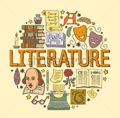 Literature hand drawn vector illustration with doodle icons, images and objects arranged in a circle Notebook Cover Design, Notebook Covers, Binder Covers, Cover Page For Project, School Murals, Doodle Art Drawing, School Notebooks, Bullet Journal School, Lettering Tutorial