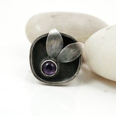 """Sterling Amethyst Leaf Ring """"Rainy Day Love"""" by BellaBijouJewellery, $92.00    Can you tell I love leafy nature inspired things?"""