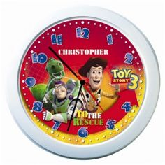 This Toy Story 3 personalised name clock will help your child relive the adventures of Buzz, Woody and the rest of the gang whilst learning to tell the time.