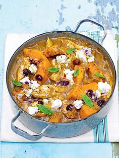 This easy recipe for slow-cooked one pot Moroccan chicken is a delicious lighter dinner option, bursting with flavour and nutritious ingredients, and with plenty to go round to feed a hungry crowd. Slow Cooker Recipes, Cooking Recipes, Healthy Recipes, One Pot Recipes, Slow Cooking, Healthy Eats, Yummy Recipes, Vegetarian Recipes, Dessert Recipes