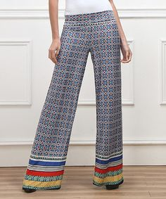 Love this Blue Mosaic High-Waist Palazzo Pants by Reborn Collection on #zulily! #zulilyfinds