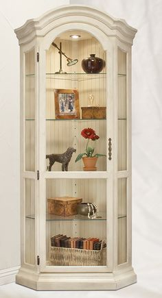 need a curio cabinet, too: Philip Reinisch Color Time Panorama - Modern Corner Curio Display Cabinet in Hardwood Hutch Furniture, Shabby Chic Furniture, Furniture Makeover, Painted Furniture, Diy Furniture, Paneling Makeover, Furniture Showroom, Curio Cabinet Decor, Corner Display Cabinet
