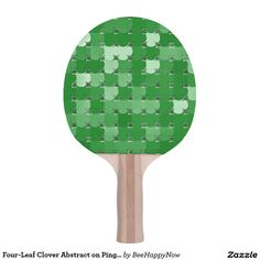 Four-Leaf Clover Abstract on Ping Pong Paddle Ping Pong Table Tennis, Ping Pong Paddles, Four Leaves, Four Leaf Clover, Abstract, Design, Green, Summary, Design Comics