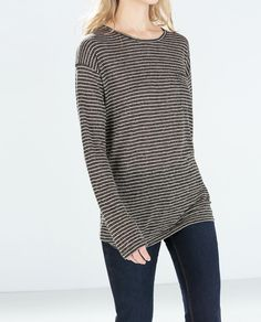 STRIPED T-SHIRT WITH POCKETS from Zara