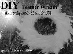 DIY Feather Wreath - Spoonful of Imagination Acorn Wreath, Feather Wreath, Wreaths And Garlands, Door Wreaths, Deck Decorating, Crafty Craft, Crafting, Welcome Wreath, Summer Wreath